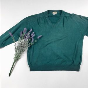 Green LLBean V-Neck Sweater